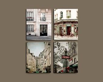 SALE, Neutral, Paris Wall Decor, Beige, Green, Paris Photography, Rustic Wall Art, 4 Photo Set, Paris Prints, Travel