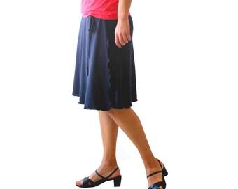 Plus size aline wrap skirt, Navy blue skirt, Knee length skirt, Plus size clothing, Custom plus size skirt, Made to order skirt, Women skirt
