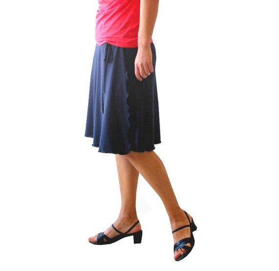 plus size aline wrap skirt navy blue skirt knee length