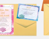 Boho Watercolor Wedding Invitation Set with Mandalas and Lotus Flower in Pink and Blue - Deposit