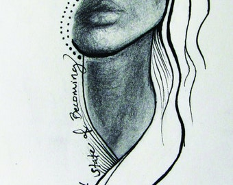 Becoming - Small Surreal Female Portrait Art Print