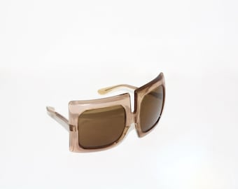 PIERRE CARDIN Vintage Oversized Sunglasses Huge Square Brown Eyewear - AUTHENTIC -
