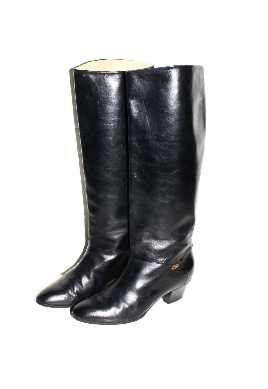 gucci vintage black leather boots low heel knee high boots 38