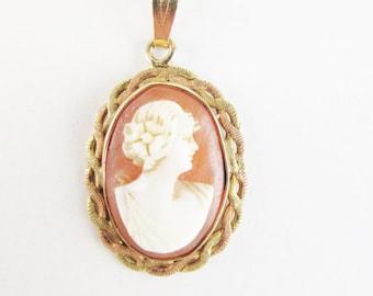 Antique Cameo Pendant, 14k Gold