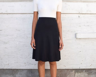 Vintage Wolford Knit Minimalist 1990's High Waisted Black A Line Knee Length Skirt S 26