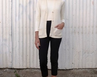 Vintage Alpaca 1970's Cream Ivory Ribbed Button Up Knit Sweater Vest Top M