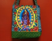 LADY GUADELOUPE LOTERIA quilted  tote bag handmade Tanzania textile corazon Bingo Shweshwe vintage fabric