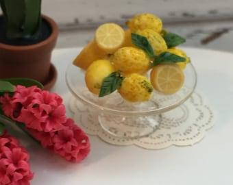 Miniature Lemons on Glass Cake Stand, Fancy Lemons, Dollhouse 1:12 Scale Miniature, Food, Dollhouse Accessory