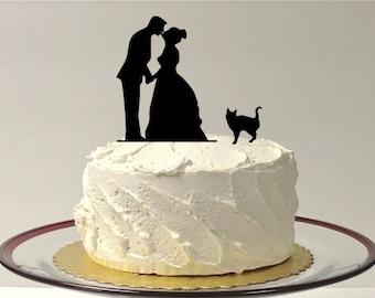MADE In USA, Kissing Couple Wedding Cake Topper, Cat + Bride + Groom Wedding Cake Topper Silhouette Pet Family of 3 Cake Topper