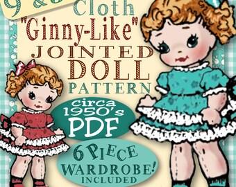 GINNY-Like 9 inch Cloth JOINTED Doll Vintage epattern - WARDROBE included - 5 Inch bonus Pdf pattern stuffed rag doll download