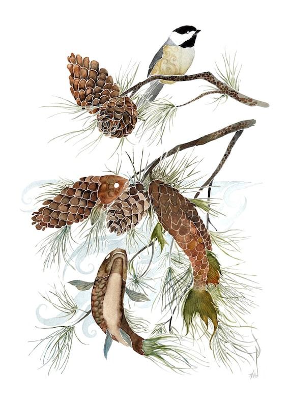 Under the Pines -  PRINT of original watercolor