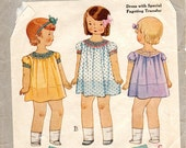 1930s Girls Dress with Fagoting Details - Vintage Pattern McCall 1795 - Size 1