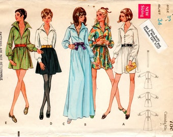 1960s Deep V Neck Dress with Pointed Collar - Vintage Pattern Butterick 5614 - Bust 34