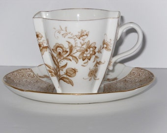 Antique English Brown Transferware Demitasse Cup And Saucer Brownfield & Son 1880's