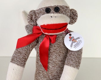 Traditional Sock Monkey Doll in Brown, Cherished for Years to Come