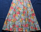 90s Rayon Midi Skirt / Nineties Floral Skirt / High Waisted Button Up and Down Skirt / Bohemian Haute Hippie Festival Skirt