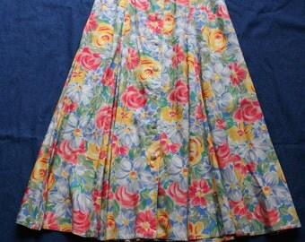 90s Rayon Midi Skirt / Nineties Floral Skirt / High Waisted Button Up and Down Skirt / Bohemian Haute Hippie Festival Skirt