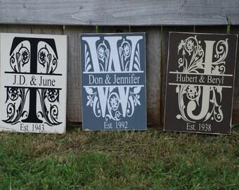 Wedding Decor ~ Last Name Sign ~ Wedding Gift Custom Wood Sign ~Anniversary Gift ~Year Established ~Family Sign ~Monogram Sign ~Personalized