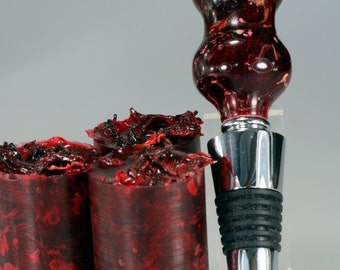Handmade Wine Bottle Stopper Blanks - Resin Cast Potpourri Grade Hibiscus - Craft Supplies