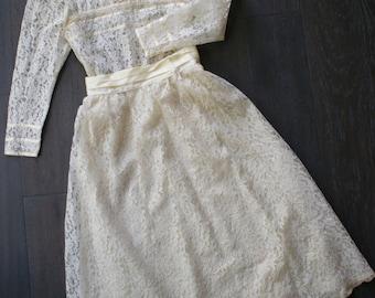 Vintage GUNNIES Boho SAX LACE Victorian Style Two Piece Skirt Set (m)