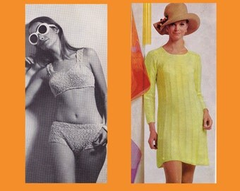 1960s Vintage Stitchcraft Magazine Knitting crochet patterns Knitted Bikinis Jackets Dress Tops Ladies Mens Kids