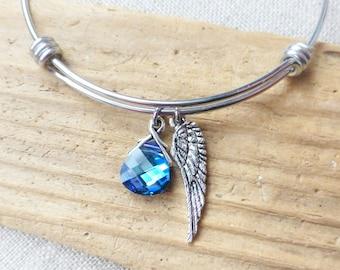 Angel Wing Bracelet, Adjustable Bangle Bracelet, Angel Charm Bracelet, Swarovski Blue Purple Crystal, Stainless Steel, Gift for Her