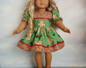 18 inch doll clothes -  Gingerbread Dress made to fit the American Girl Doll - FREE SHIPPING