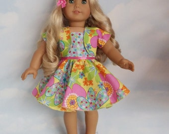 18 inch doll clothes - Floral Outfit Handmade to fit the American Girl Doll - FREE SHIPPING