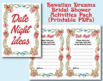 Hawaiian Dreams Bridal Shower 2 Printables | Activities | PDF | Hawaii | Flowers | Leis | Oahu | Bride and Groom