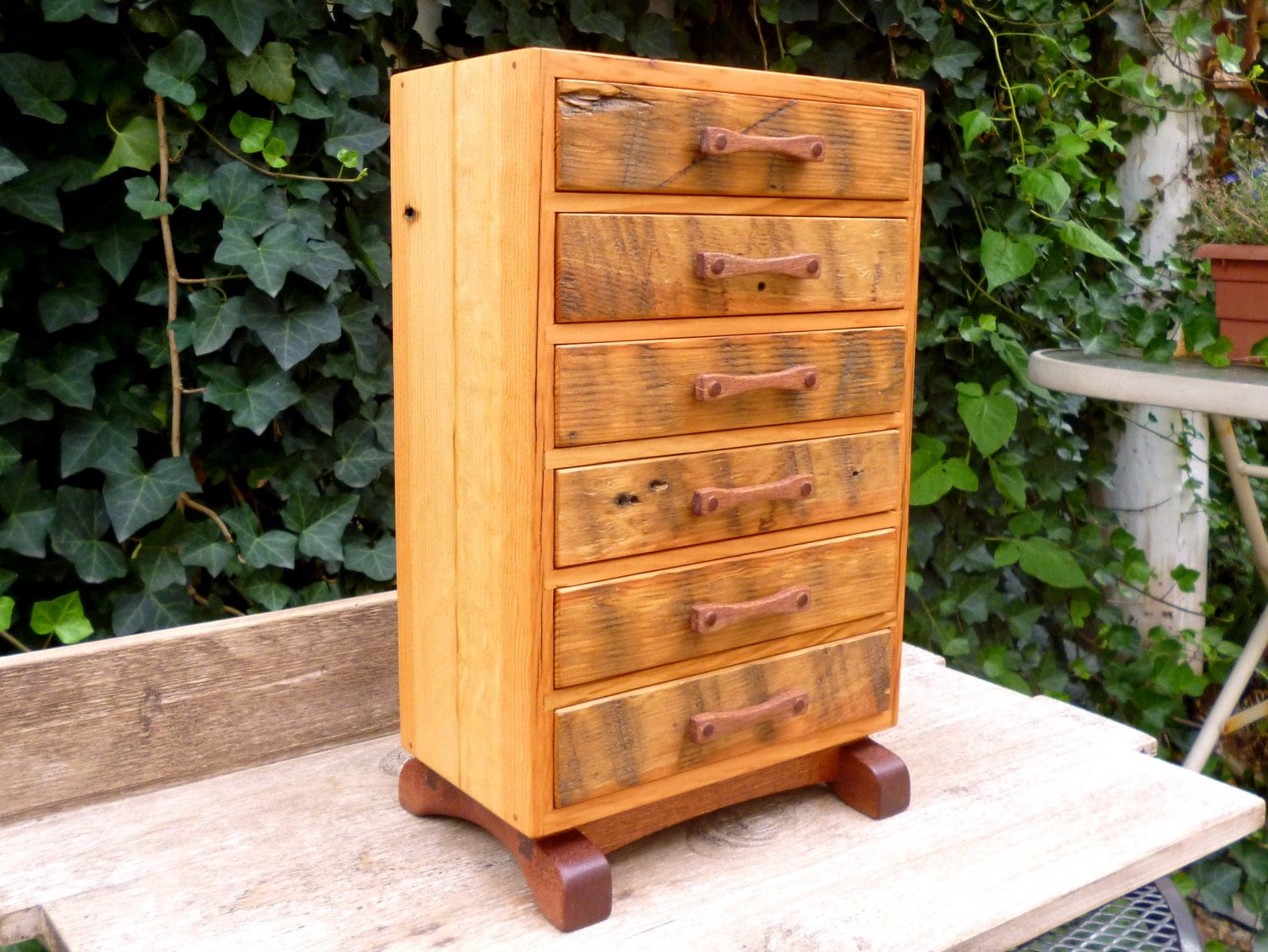 wooden jewelry box chest w six drawers secret. Black Bedroom Furniture Sets. Home Design Ideas