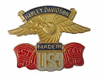 Harley Davidson motorcycle vintage enamel pin Made In USA eagle