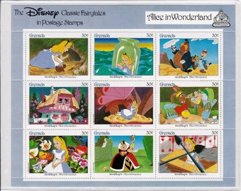 Vintage Alice In Wonderland Collectible Postage Stamps