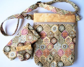 Patchwork Leaves & Flowers Quilted Purse,Quilted Inside/Out,Handcrafted Your Choice Purse,Glass Case, Pencil Pouch, Coin Purse or Set of 3