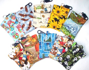 Quilted Cell Phone Pouch, Cell Phone Holder with Belt Loop Clip,Key Ring,Camera Bag Pandas,Kittens,Puppies,Bears,Eagles,Owls,Snoopy,Flowers