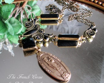 gothic - virgin mary necklace notre dame medal bronze black cabochon filigree victorian revival paris souvenir lariat