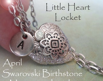 Petite Locket, April Swarovski Crystal Necklace, Custom Letter, Sizes For Everyone, Little Girls, Teens, Bridesmaids Gifts