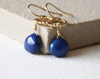 Dainty gold Amelia blue Lapis earrings, gold drop earrings, minimal dainty earrings, delicate earrings, gift for her, birthday gift,