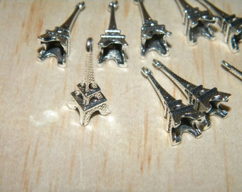 10 Eiffel Tower France Tibet Silver Beads