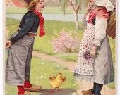 Birthday Greetings - Antique Postcard - Birthday Cards, Birthday Postcards, Dutch, Dutch Children, Chicks, Chickens, Paper, Ephemera
