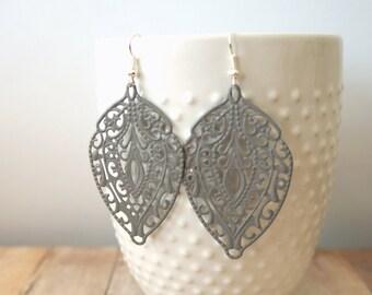 S T O N E - Stone Grey, Lace Handpainted Metal Filigree, Silver Plated Dangle Earrings