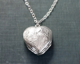 Four Photo Heart Sterling Silver Locket Necklace, Vintage Engraved Design - Family of Four