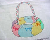 Vintage 80s Fabric Panel -Bunny Basket to Sew n' Stuff -Aqua Yellow Pink Blue Purple Rosebud Daisy Calico Cotton -Baby Quilt Appliques Toys