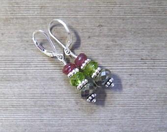 Sterling Silver Pink Tourmaline Earrings, Pyrite Earrings, Peridot Earrings, Multi Stone Drop Earrings, Gift For Her
