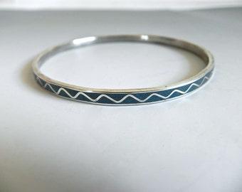 Vintage Silver and Turquoise Bangle Bracelet - Silver Inlay Turquoise Serpent Bracelet - on sale