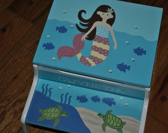 New For 2016-Kids Step Stool-Childrens Step Stool-Hand Painted-Mermaid-Brunette-Girls Step Stool-Baby Shower-Kids' Furniture-Chair-Baby Gift