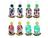 Geometric Earrings, Statement Earrings, Gold Earrings, Neon Earrings, Leather Earring, Abstract Art Earring, Painted Earring, Dangle Earring