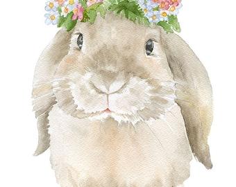 Bunny Rabbit Floral Watercolor Painting 8 x 10 - 8.5x11 - Fine Art Giclee Reproduction - Woodland Animal Springtime Art Print Lop Rabbit