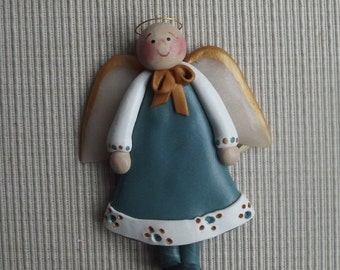 Guardian angel ~ polymer clay angel ornament
