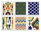 Colorful Ikat Prints Moroccan style Wall Art Digital  Modern Home Decor -Yellow Navy Orange Olive Green Wall Art Vintage- SET of  6:)