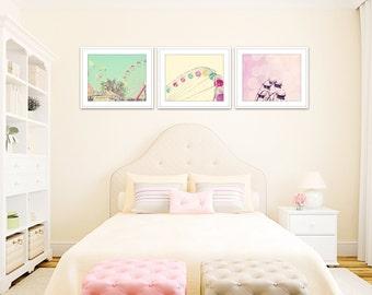 little girl room decor, set of 3 prints, ferris wheel prints, carnival art, nursery wall art girl, nursery decor girl, purple and green art